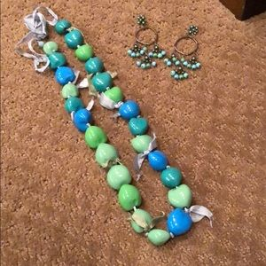 Teal and blue Jewelry Set